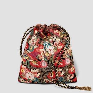 Zara embroidered beaded jacquard bag